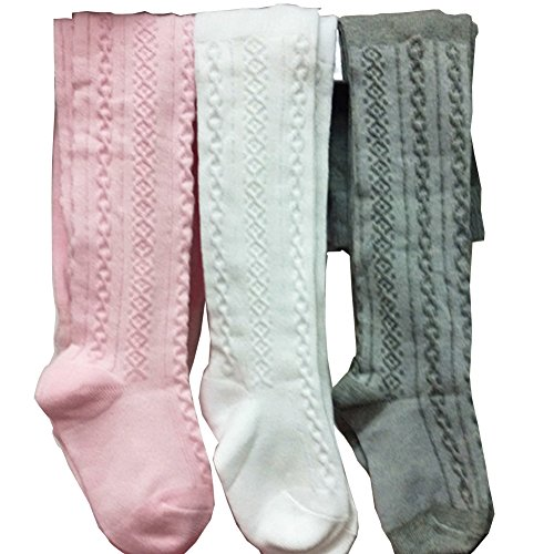 3PCS/Lot Baby Girls Cotton Tights Toddlers Leg Warmer Stocking Sock Dress Pantyhose (6-12 Months)