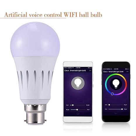 P12cheng Bombilla LED inteligente, compatible con WiFi, B22 7 W WiFi Smart LED bombilla
