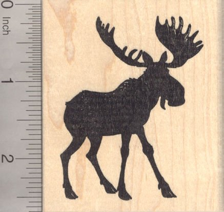 Bull Moose Silhouette Rubber Stamp -