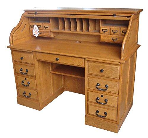 Chelsea Home 54 in. Mylan Roll Top Desk in Harvest Oak