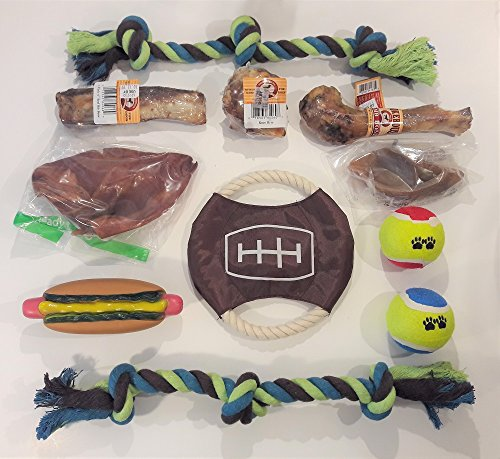 RMH Products Deluxe Dog Toy & Premium Treat Bundle, Includes Lamb Bone, Knee Bone, Beef Rib, Pig Ear, Beef Hoof, Knotted Ropes, Tennis Balls, Flying Disc, Squeaky Toy, Self-Cleaning Brush