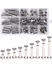 Witlans Chicago Binding Screws Assorted Kit,90 Sets 304 Stainless Steel Phillips Chicago Screw Binding Post Screw Kit for DIY Leather Decoration Scrapbook Photo Albums Bookbinding(9 Sizes)