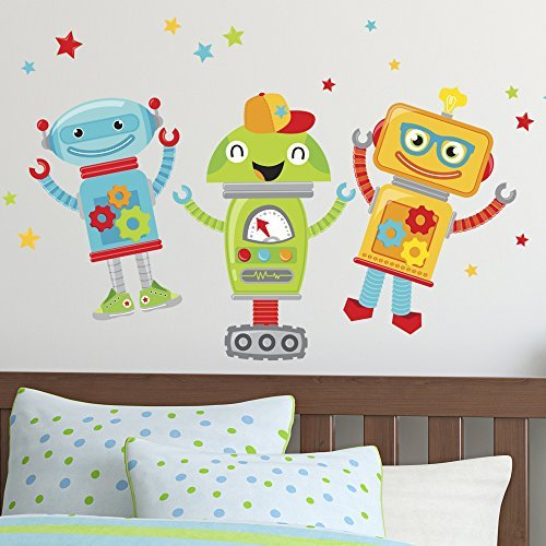 (Peel and Stick Wall Decals - Colorful Robot Friend Decals are Perfect for Any Playroom or Child's Room. By Flipside)