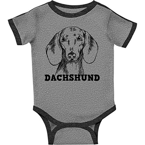 inktastic Dachshund Sketch Infant Creeper 18 Months Ringer Heather and - Dachshund Ringer