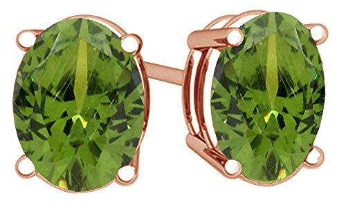 (Simulated Green Peridot Oval Shape Stud Earrings In 14K Rose Gold Over Sterling Silver (1.5 Ct))