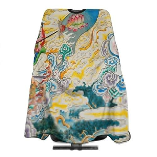 Haircut Cape Traditional Chinese Painting On The Wall Of Chinese Temple In Suphanburi Province Thailand Unique Hairdressing Apron Polyester Hair Cutting Cape for Adults