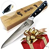 expert f sharp - Sugoi Professional Chef's Knife, 9.5 inch Blade Multipurpose Gyuto Long Damascus Japanese with High Carbon 67 layers Stainless Razor Sharp Non-Rust Balanced Comfortable Handle and Bamboo Box Expert