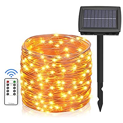 Asmader Solar and Battery Powered Outdoor String Lights, 66 ft 200 LEDs IP67 Waterproof 8 Modes RF Remote Copper Wire Fairy Lights