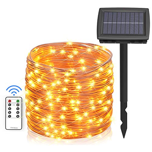 Asmader Solar String Lights, 66 ft 200 LEDs Outdoor Fairy Lights Powered by Solar and Battery, IP67 Waterproof 8 Modes RF Remote Rope Lights with 3.7V/1500mA Solar Lights for Patio Decor(Warm White)