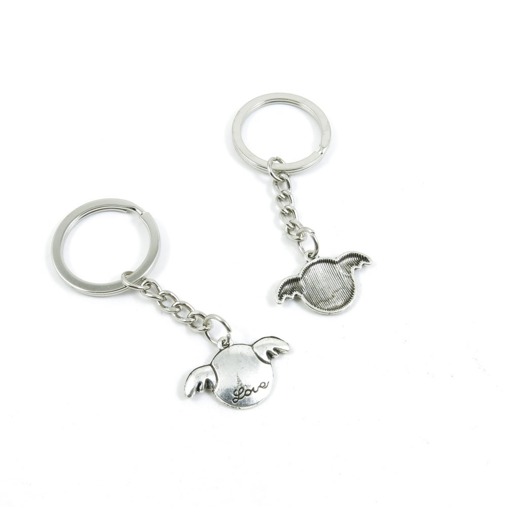 100 Pieces Keychain Door Car Key Chain Tags Keyring Ring Chain Keychain Supplies Antique Silver Tone Wholesale Bulk Lots I0QT6 Love Wings