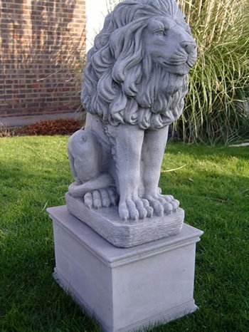 pair of stone Lions With Plinths garden ornaments