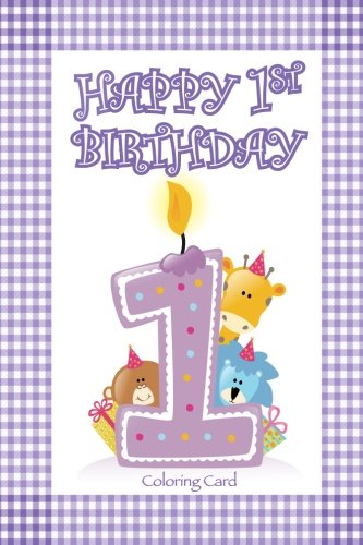 Download Happy 1st Birthday Coloring Card pdf