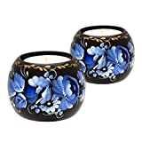 Tealight Candle Holder Set of 2, Hand Painted Floral Design Christmas Home Décor Accent Gift for Table, Fireplace, Living Room, Office or Ethnic Restaurant, Scented Candle Included (Blue and White)