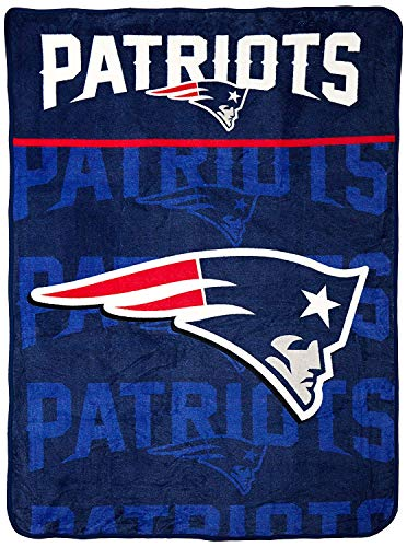 The Northwest Company Officially Licensed NFL New England Patriots Livin Large Micro Raschel Throw Blanket, 46