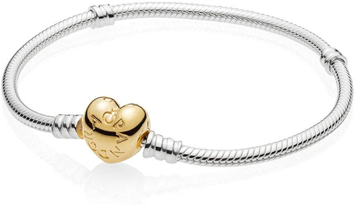 pandora bangle with rose gold heart clasp
