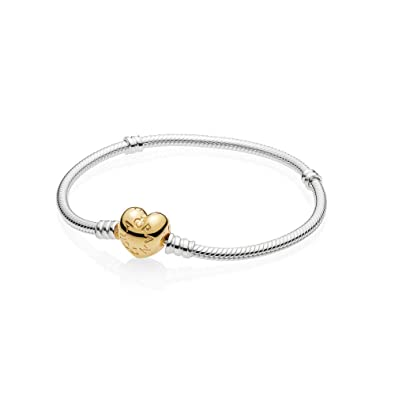 0842eee68ff PANDORA Moments 925 Sterling Silver Bracelet with 18k Gold Plated PANDORA  Shine Heart Clasp Necklace,