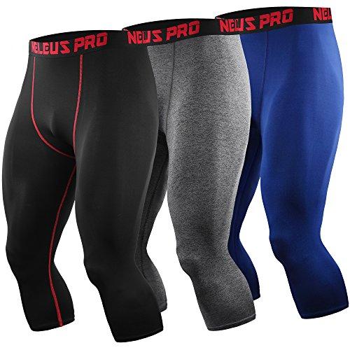 (Neleus Men's Compression 3/4 Capri Running Leggings Sports Tights,6057,Black (red Stripe),Grey,Blue,S,EU M)