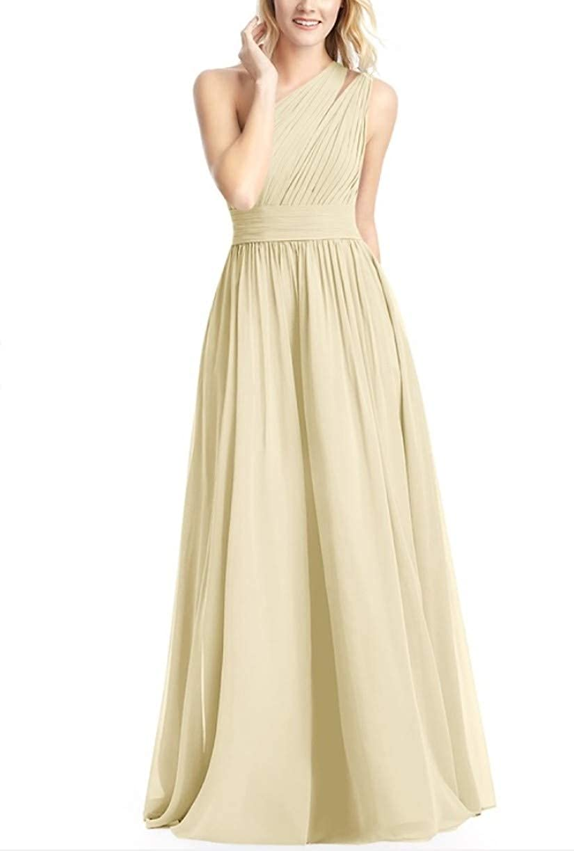 Champagne RTTUTED Women's FullLength One Shoulder Bridesmaid Dress Evening Prom Gowns Skirt