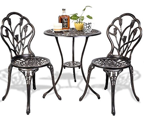 K&A Company Patio Bar Bistro Set Furniture Table Pub Kitchen Stools Breakfast Dining Home Indoor Square Bistro Furniture Set Cast Aluminum Outdoor Table and Chair Set 3 pcs (Cast Aluminum Chair)