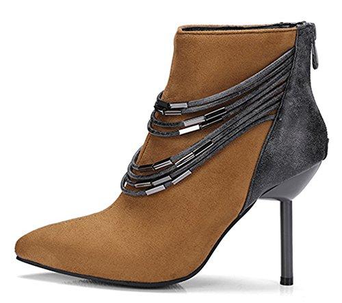 High Ankle Aisun Brown Toe Stilettos Zipper Women's Stylish Booties Pointy wx4qZ4XTR0