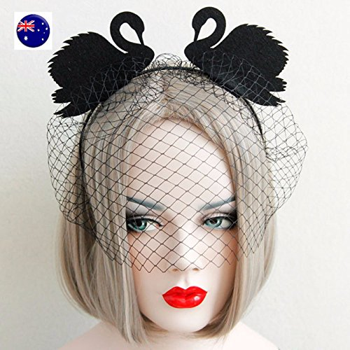 Coke Head Costume (NPLE--Women Girl Black Swan Veil Mask Costume Party Hair Band Headband Prop)
