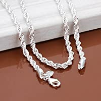Promsup 925 Sterling Silver Rope Chain Twist Necklace Wedding Engagement Jewelry 2MM (18)