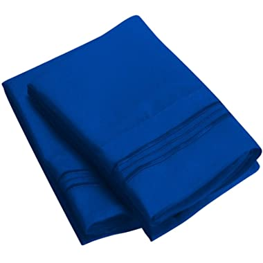 Mellanni Luxury Pillowcase Set - Brushed Microfiber 1800 Bedding - Wrinkle, Fade, Stain Resistant - Hypoallergenic (Set of 2 Standard Size, Imperial Blue)