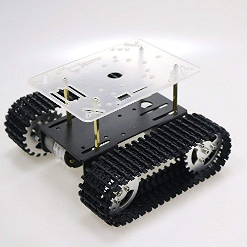 (SZDoit Smart RC Metal Robot Tank Car Chassis Compatible with Arduino Raspbery pi NodeMCU Track Crawler Caterpillar Platform with DC 12V Motor Metal Wheel (Black))