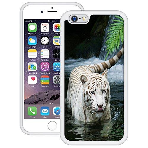 Weißer Tiger Wasserfall | Handgefertigt | iPhone 6 6s (4,7') | Weiß TPU Hülle
