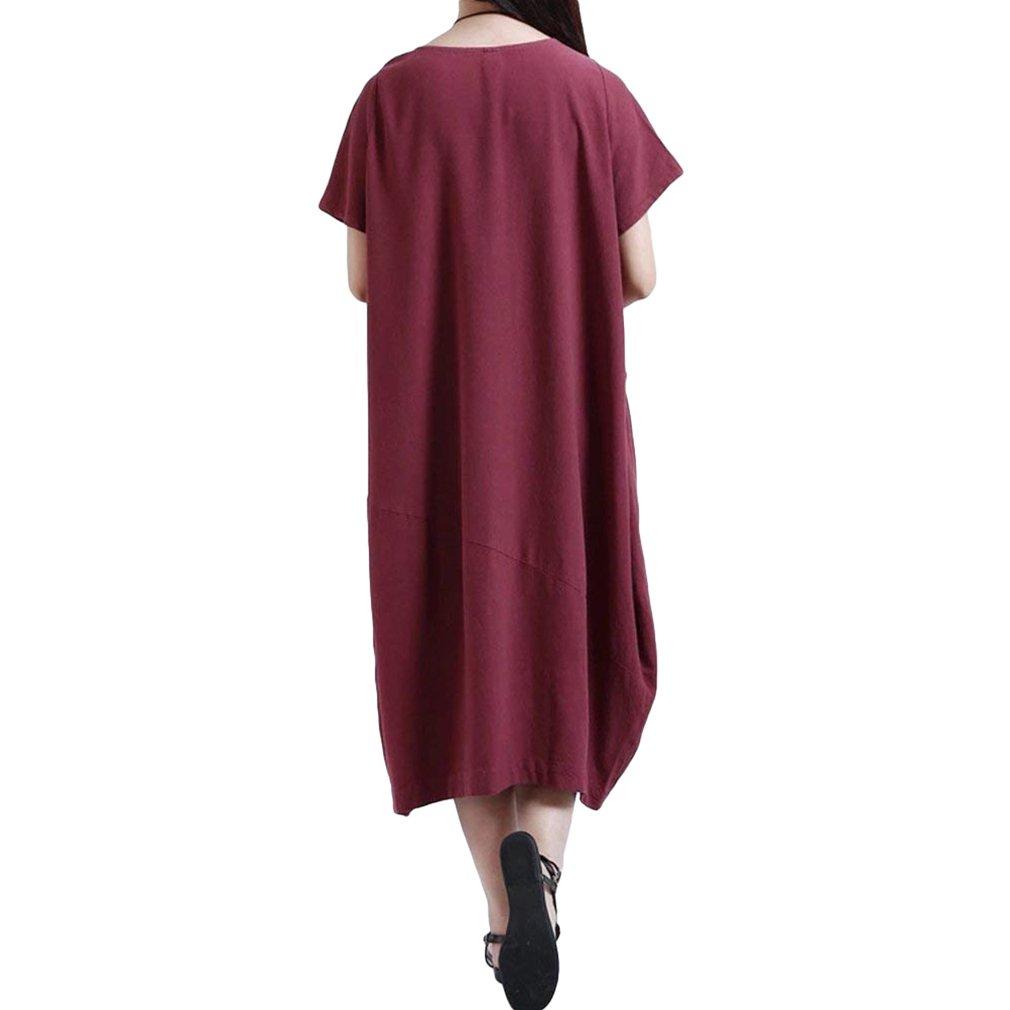 junkai Women's Summer Cotton Linen Shift Dress with Pockets