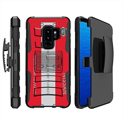 ([Case86] Dual Hybrid Armor for Samsung Galaxy S9+ [Black/Black] Armor Holster Case [SCREEN PROTECTOR INCLUDED] - [SR20DET])