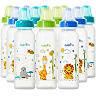 Evenflo Feeding Zoo Friends Polypropylene Bottles for Baby, Infant and Newborn - Blue/Green/Orange, 8 Ounce (Pack of 12)
