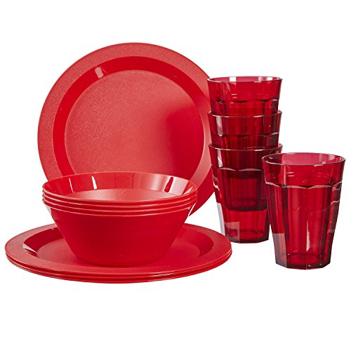 Cambridge Plastic Plate, Bowl and Tumbler Dinnerware | 12-piece set Red ()