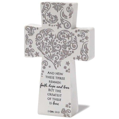 Tabletop Cross - Heart Design - Faith, Hope, Love