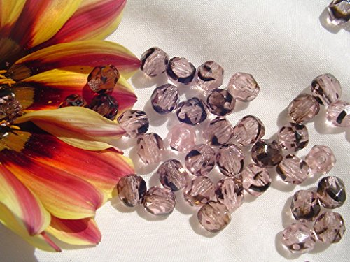 - Czech Firepolish Bead 6mm WR22-Pink Tortoise Shell 50pc