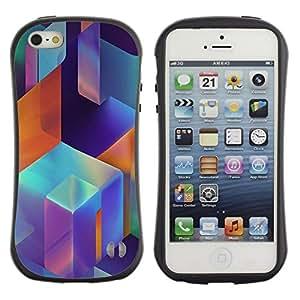 "Hypernova Slim Fit Dual Barniz Protector Caso Case Funda Para Apple iPhone SE / iPhone 5 / iPhone 5S [Moderno Estructura Arte Azul Naranja Rosa""]"