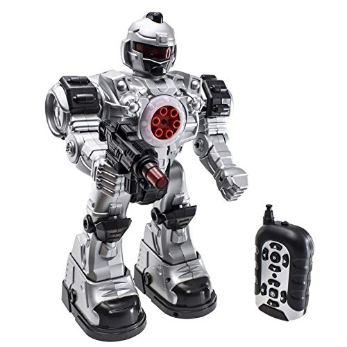 Robot Police Toy | Remote controlled | Flashing lights | Robot sounds | 10 different actions | Robot Shoots Missiles Walks & Talks |AA battery functional | Wireless remote Great Action Toy for Boys by JoyABit