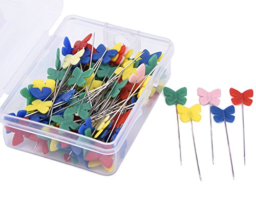 Flat Butterfly Pins (JoyFamily 200 Pieces Flat Butterfly Head Pins Boxed(Mixed)