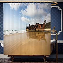 Wanranhome Custom-made shower curtain Ocean Decor Antique Rusty Pirate Ship Wreck on the Coast in Caribbean Island Pacific Sea View Multi For Bathroom Decoration 36 x 72 inches