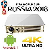 Deeirao Android5.1 Wifi DLP Home Theater Projector Mini Portable Support 4K 2160P Full 3D Bluetooth 8000mhA Li-Battery for Youtube Facebook PS4 Xbox360 Game Gold