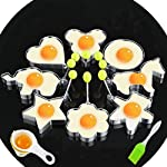 Fried Egg Mold Ring Set of 10 - CHANMOL Stainless Steel Non-Stick Egg Shaper Ring with Silicone Pastry Brush and Egg Separator, Kitchen Cooking Tools for Kids and Lovers 8 BRILLIANT DESIGN -- Star/Heart/Sun/Plum Flower/Mouse/Horse/Elephant/Bear 8 different lovely molds making pancake or egg with funny shapes easily. You can use them to make any delicious food you can think about, such as dessert, pastry, chapatty, jelly. Just have them and get your imagination started! PREMIUM QUALITY-- Our egg molds are made of stainless steel 18/8 with passed FDA certification ,and fully surgical-graded stainless-steel interior and outside , which gives it a brilliant, durable, rust-resistant finish that is easy to maintain, and will last a lifetime. CONVENIENCE-- Single weight about 32g, compact, durable & easy to use. Foldable handles with heat resistance silicone prevents burns to the hands, convenient to move and store. One silicone pastry brush and one egg yolk white separator are also included as bonus for you.