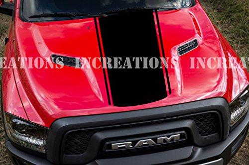 - Hemi Dodge Ram Hood Stripe Truck Decals Mopar Stickers Racing Any Truck Toyota (Black)