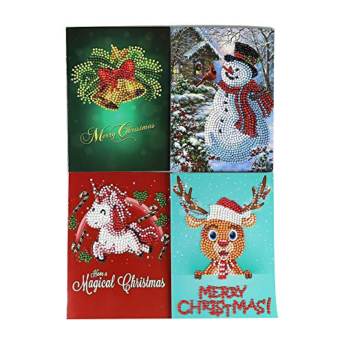 RTYou Christmas Decoration Clearance,Christmas Greeting Card Cartoon DIY 5D Diamond Painting Gift Hand-Made Festival New Greeting Card (Multicolor)