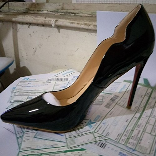 Sandals Leather 45 Fashion Size VIVIOO Pumps 34 Shoes Heeled 11 Cm 9 Prom Pointed Multicolor Black Toe Novelty Shoes High Bqx5SW