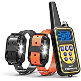 TIMPROVE 330 Yards Range Remote Dog Training Collar, 2020 Version Rechargeable and IPX7 Rainproof Dog Shock Collar with Beep, Vibration and Shock, Electric Dog Collar for Puppy, Small, Medium and Large Dogs