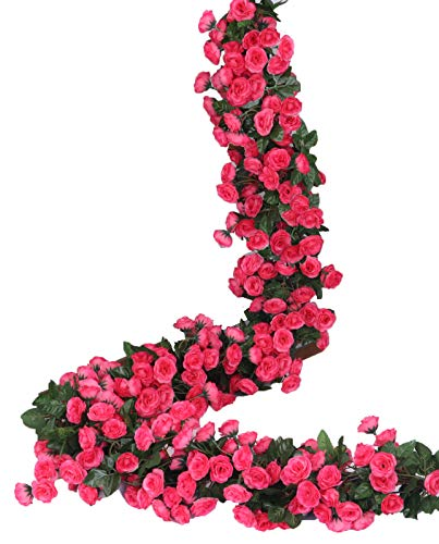 Hot Pink Roses - Lannu 2 Pack Artificial Rose Vine Flowers Fake Garland Ivy Flowers Silk Hanging Garland Plants for Home Wedding Party Decorations, (HOT Pink) (PINK2)