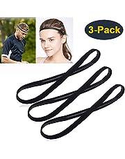 [3 Pack] Heyus Anti-Slip Thin Elastic Black Sports Headbands Yoga Head Band Sweatband Sweat Band for Men and Women nisex-Adult