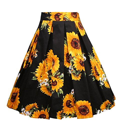Dresstore Vintage Pleated Skirt Floral A-line Printed Midi Skirts with Pockets Sun-Flower-M
