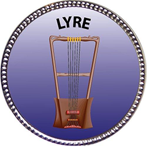 Keepsake Awards Lyre Award, 1 inch Dia Silver Pin Musical Instrument Masteries Collection