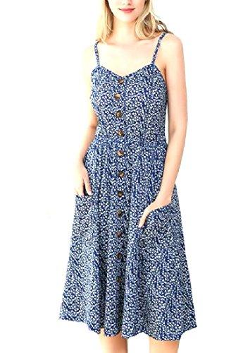 Stampa Estate Scavato Grafica donne Vestito Blu Dell'imbracatura Di Nuovo Coolred Del Midi Hwz8pCgqwn
